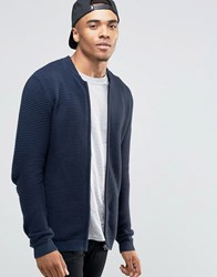 Jack And Jones Ribbed Zip Through Knitted Cardigan Navy