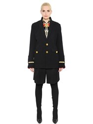 Givenchy Wool Canvas And Velvet Military Style Coat