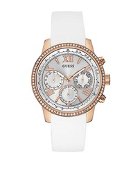 Guess Sunrise Rose Goldtone Silicone Strap Watch White