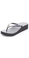 Tory Burch Wedge Thin Flip Flops Black Black
