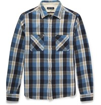 Alex Mill Checked Cotton Flannel Shirt Blue