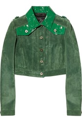 Burberry Cropped Patent Leather Paneled Suede Jacket Green