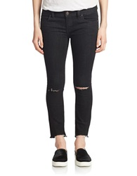 Free People Black Skinny Distressed Jeans Starkblack