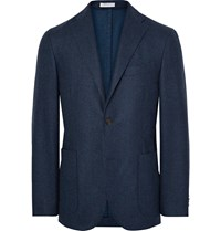 Boglioli Storm Blue K Jacket Slim Fit Yarn Dyed Wool Blazer Blue