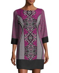 Laundry By Shelli Segal Platinum 3 4 Sleeve Geometric Print Dress Madge Mult