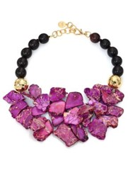 Nest Purple Jasper And Ebony Wood Beaded Bib Necklace
