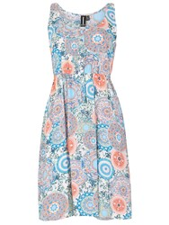 Izabel London Scarf Print Sundress With Button Detail Coral