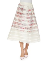 Kay Unger New York Striped And Floral Tea Length Ball Skirt