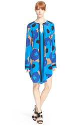 Tracy Reese Pintuck Floral Print Tunic Blue Floral Scarf