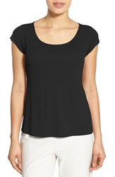 Eileen Fisher Women's Cap Sleeve Silk Tee Black