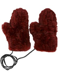 Yves Salomon 'Moffola' Gloves Red