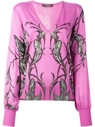 Roberto Cavalli Print Knitted Blouse Pink And Purple