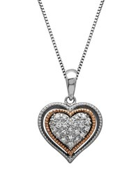 Lord And Taylor Sterling Silver 14Kt. Rose Gold Diamond Heart Pendant Necklace Silver Rose Gold