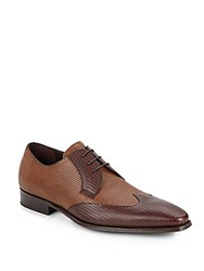 Mezlan Pebbled Leather Colorblock Oxfords Light Brown