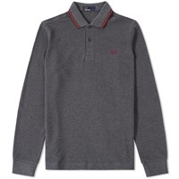Fred Perry Long Sleeve Twin Tipped Polo Grey