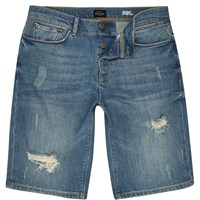 River Island Mens Blue Wash Distressed Slim Fit Denim Shorts