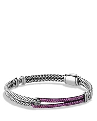 David Yurman Petite Pave Labyrinth Single Loop Bracelet With Pink Sapphires Silver Pink