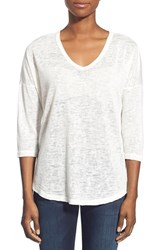 Women's Bobeau Metallic Flecked V Neck Pullover Ivory Gold