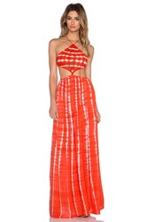 Indah Revel Crochet Halter Maxi Dress Orange