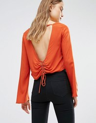 First And I Open Back Blouse With Lace Up Waist Rooibos Tea Orange