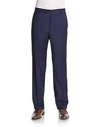 Zanella Devon Plaid Wool Pants Blue