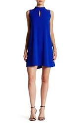 Love Ady Sleeveless Mock Neck Keyhole Shift Dress Blue