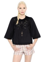 Etoile Isabel Marant Embroidered Cotton Poplin Top