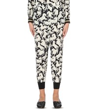 Stella Mccartney Horse Print Silk Crepe Trousers Black