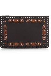 Givenchy Classic Iconic Large Embellished Pouch In Black And Brown Leather