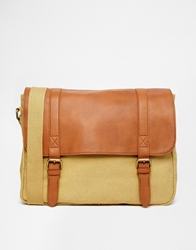 Asos Canvas And Leather Look Satchel Stone