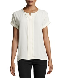 Neiman Marcus Pleated Short Sleeve Blouse Ivory