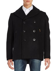 Karl Lagerfeld Studded Leather Trimmed Peacoat Black