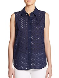 Current Elliott Colleen Cotton Eyelet Sleeveless Blouse Peacoat