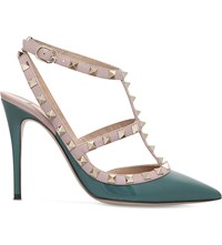 Valentino Rockstud 100 Leather Courts Mid Green