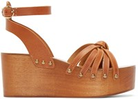 Isabel Marant Tan Leather Zia Wedge Sandals