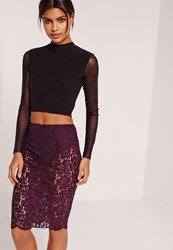 Missguided Lace Midi Skirt With Knickers Purple Purple