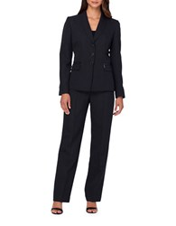 Tahari By Arthur S. Levine Pinstripe Jacket And Pants Suit Black