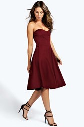 Boohoo Bandeau Sweetheart Skater Dress Berry