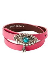 Alexander Mcqueen Leather Wrap Around Bracelet With Embellishment Pink