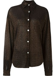 Jean Paul Gaultier Vintage Metallic Knit Shirt Brown