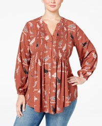 Melissa Mccarthy Seven7 Plus Size Bird Print Pintucked Blouse Cowhide