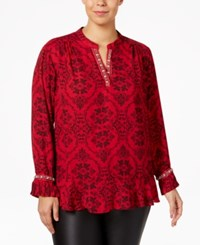Ny Collection Plus Size Embellished Ruffled Blouse Red Brocade