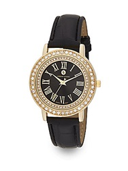 Adrienne Vittadini Pave Bezel Goldtone And Croc Embossed Faux Leather Watch