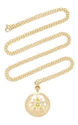 Monica Rich Kosann 18K Yellow Gold Round Locket With Yellow Sapphires And Rock Crystals On 32 Chain