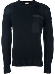 Moncler Ribbed Patch Pocket Sweater Blue