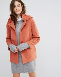 Sisley Hooded Button Up Coat 6K8 Pink