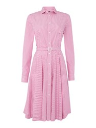 Polo Ralph Lauren Dori Long Sleeve Stripe Shirt Dress Pastel Pink