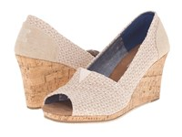 Toms Classic Wedge Natural Woven Triangle With Cork Wedge Women's Wedge Shoes Beige