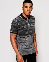 Asos Polo Shirt With Aztec Print Burn Out Charcoal