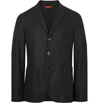 Barena Black Slanega Unstructured Wool Blend Blazer Black